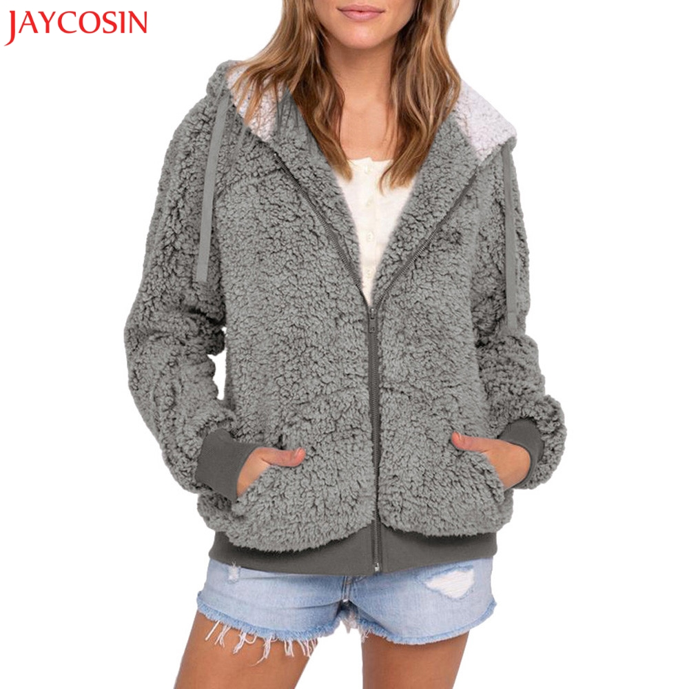 JAYCOSIN  Ladies Plus Size Coat Casual Faux Fur Plush Warm Coat Pocket Hooded Parka Outwear Cardigan Sweater Coat 6 Colors Z0925
