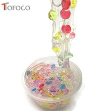 TOFOCO DIY Colorful Crystal Mud Multicolor Slime Toys For Kids With Colored Foam Balls Clear Fluffy Clay For children(China)
