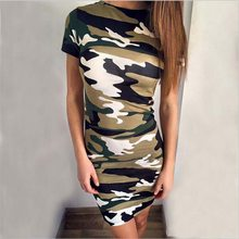 Sheath Women Summer Dress 2018 Short Sleeve O Neck High Waist Sexy vestido Army Green Printed Bodycon Casual Mini Dress Women(China)