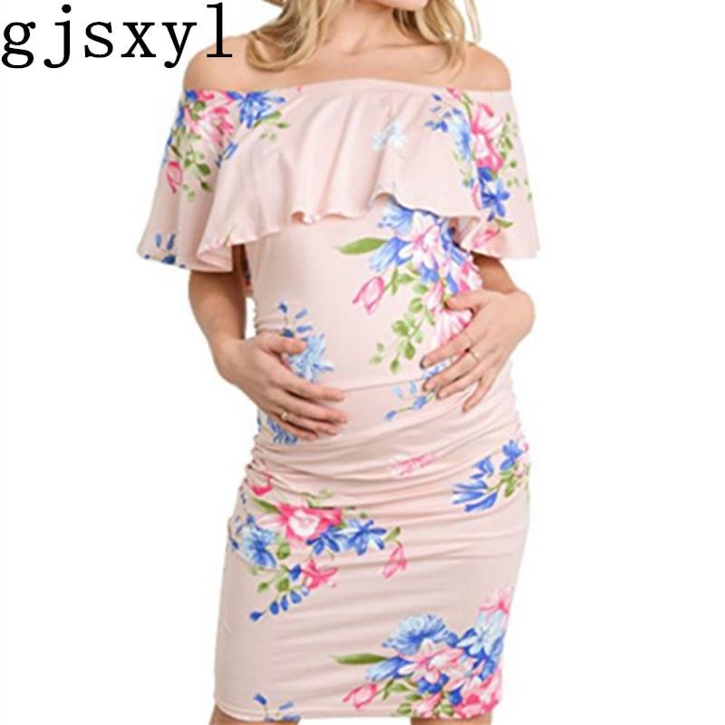 Gjsxy 2018 summer maternity clothes dresses pregnant women skirt collar elastic stretch printing dress elegant jurken vestido