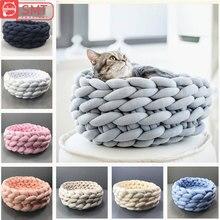 SMARTPET Pet Dog Cat Hand-woven Nest Handmade Knit Sleeping Bed Puppy Kitten Cave Basket Bag Dogs Kennel Supplies