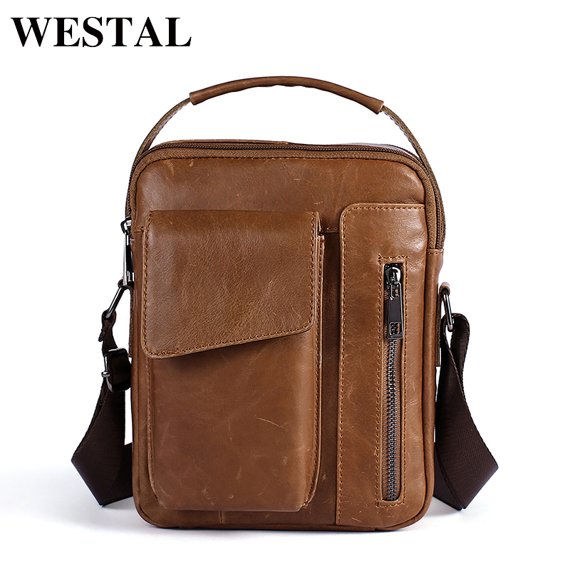 WESTAL Men's Bags Genuine Leather Bag Male Messenger Crossbody Bags Casual Cowhide Flap Leather Men Shoulder Bag Man 8211 westal casual messenger bag leather men shoulder crossbody bags for man genuine leather men bag small flap male bags bolsa new