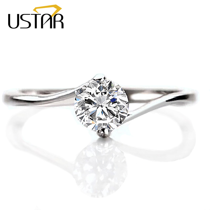 USTAR 5mm AAA Zircon wedding Rings for women Jewelry silver color engagement Rings female Austria Crystals Anel party Gift