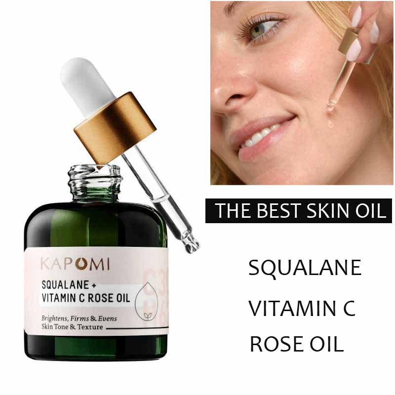 Luxurious Face Oil SQUALANE + VITAMIN C ROSE OIL 30ML Brighten Firm Anti Wrinkle Moisturizing Serum