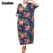 SCUWLINEN женское платье Летнее льняное винтажное платье с v-образным вырезом и длинным рукавом, свободная талия, разрезное длинное винтажное платье макси S02