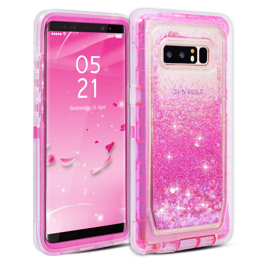 Case For Samsung Galaxy S8 S9 plus S7 edge Note 8 Case Hard Cover Soft Silicon Cute Bling Quicksand Liquid Glitter Pink Girls