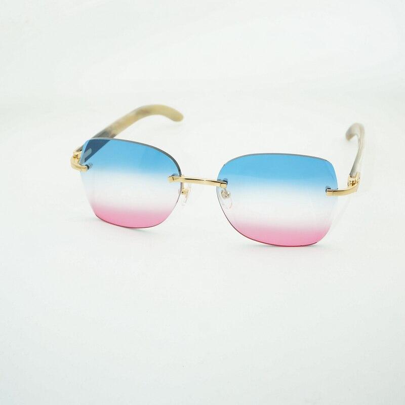 Diamant De Coupe Noir Blanc Buffalo Corne lunettes de Soleil Cadre Hommes pour Club En Bois Sans Monture Lunettes de Soleil Vintage Lunettes Oculos Nuances