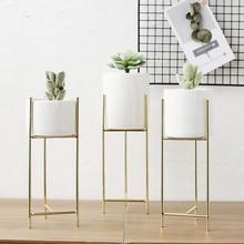 Керамический цветочный Стенд набор воды вазы для посадки скандинавский стиль керамический s сочный цветочный горшок Железный Цветочный Стенд керамический цветочный горшок