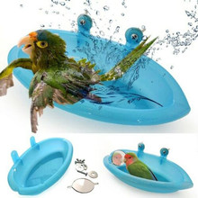 Bird Water Bath Tub For Pet Bird Cage Hanging Bowl Parrots Parakeet Birdbath(China)