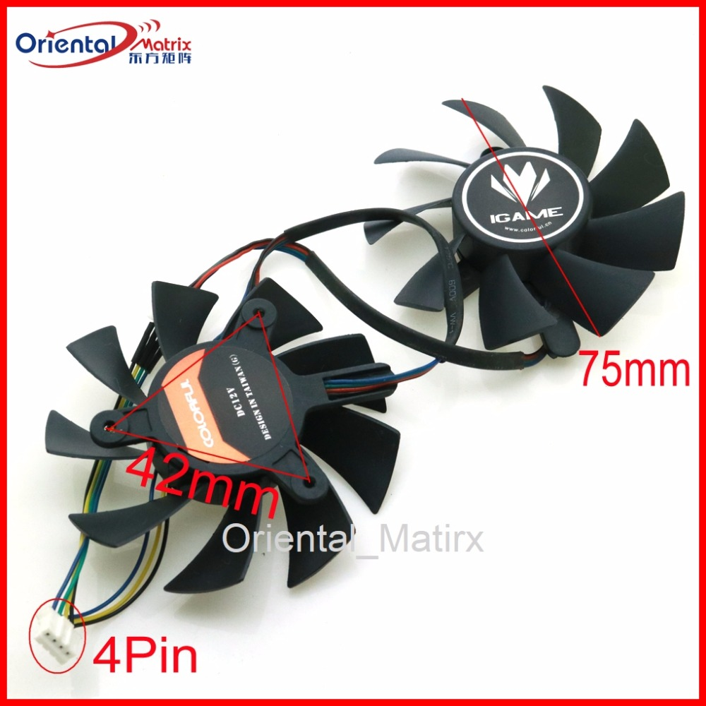 Free Shipping 2pcs/Lot 12V VGA <font><b>Fan</b></font> For iGame <font><b>GTX</b></font> 650 650TI <font><b>660</b></font> 740 750 760 <font><b>GTX</b></font> 970 U X Graphics Card Cooling <font><b>Fan</b></font> 4Wire 4Pin image