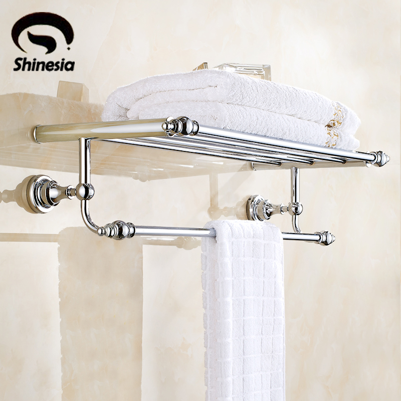 Solid Brass Bathroom Towel Rack Towel Shelves Bathroom Accessories Wall Mount Chrome Polished okaros bathroom double towel bar 60cm towel rack towel holder solid brass golden chrome plating bathroom accessories