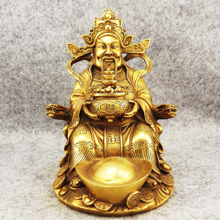 Old antique Bronze Arts & Crafts Copper the god of wealth ingot god buddha lucky decoration mammographies