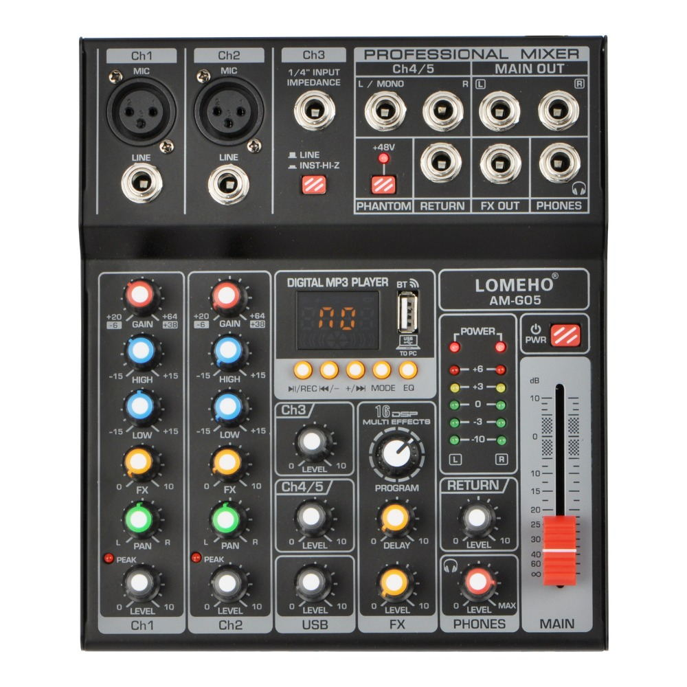 AM-G05 Bluetooth USB Rekord PC Wiedergabe Rekord 4 Kanäle Gitarre Eingang 2 Mono 1 Stereo Professional USB Audio Mixer