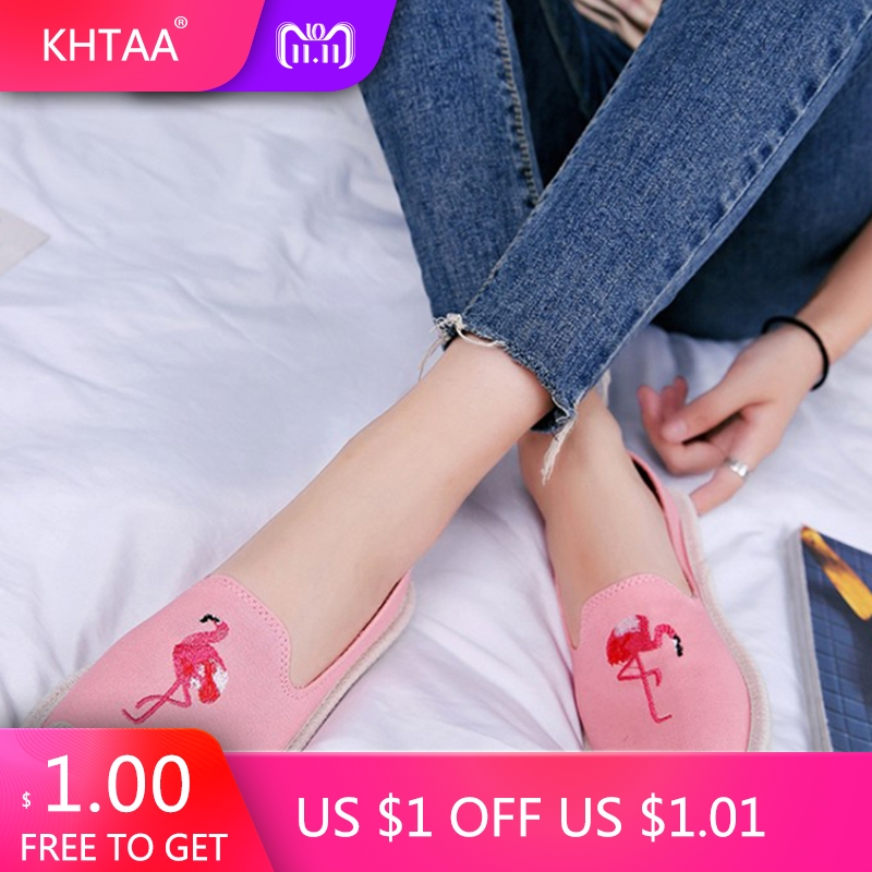 KHTAA Embroidered Flamingo Espadrilles Women Loafers Canvas Flat Shoes Female Moccasins For Women Spring Slip On Footwear curved hem flamingo embroidered fleck jumper