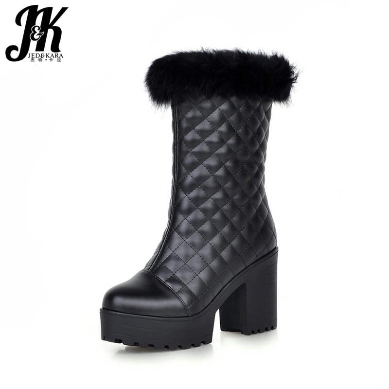 Fashion Lady's Fur Grid Upper Fall Winter Boots Thick High Heels Platform Shoes Woman With Fur Warm Winter Boots Size 34-43 size 34 42 2016 new high quality fall winter boots thick med heels platform shoes woman fashion add fur knee women boots