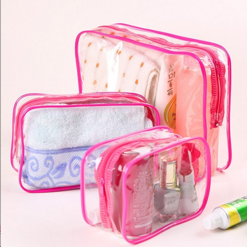 Yesello 3PCS/Set Transparent Makeup Bags PVC Cosmetic Bags Waterproof Travel Wash Organizer Toiletry Bag For Women Girls image