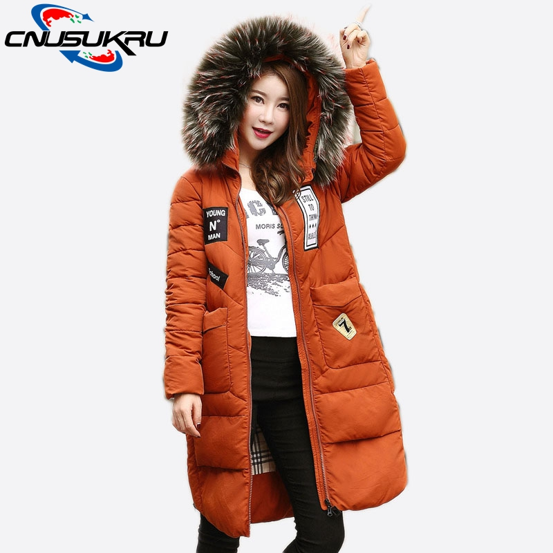 Hot!2017 New Fashion Fake Raccoon Fur Collar Coat Female Down Cotton Jacket Long Warm outerwear for winter jacket women parka вытяжка krona diana 500 inox push button