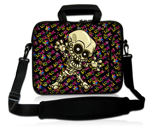 "Skull print neoprene notebook laptop carry bag sleeve for  9.7"" 10"" 10.1"" 10.2"" Tablet PC laptop bag shoulder handbag"