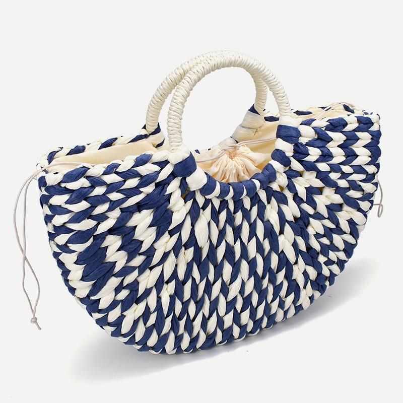 2019 New Women Round Bucket Semicircle Straw Bag Handmade Net Color Woven Basket Rattan Handbag