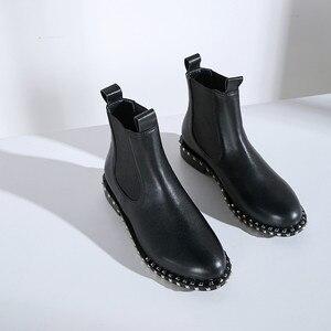 Image 4 - MORAZORA 2020 di alta qualità genuino stivali di cuoio della caviglia per le donne punta rotonda slip on stivali autunno inverno scarpe da donna nero