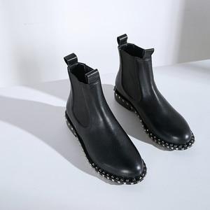 Image 4 - MORAZORA 2020 top qualität aus echtem leder stiefeletten für frauen runde zehe slip auf herbst winter stiefel frauen schuhe schwarz