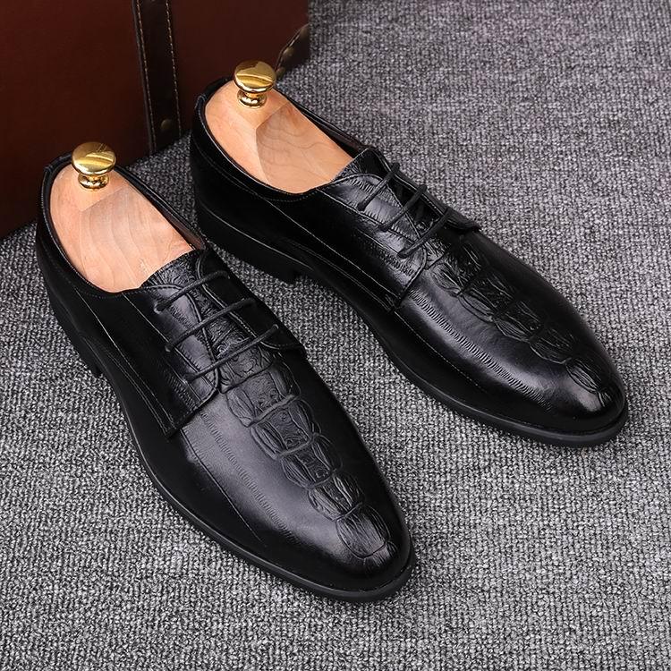 Designer Brun Crocodile Hommes Motif Couleur Noir Bureau Brosse Mode marron Loisirs En Formelle Chaussures Cuir Pu Errfc D'affaires Noir 3RL4A5j