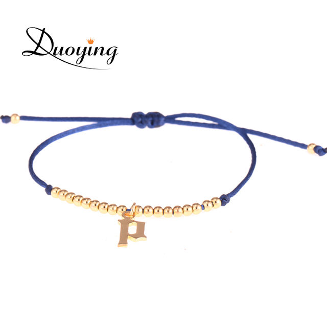 Duoying Gold Initial Bracelets 10 Mm Old English Letter With Tiny Personalized Unique