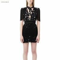 High Quality Luxury Brand 2018 New Fashion Deep V neck Bandage Mini Women Dress Print Star Tassel Slim Waist Mini Dress Vestidos
