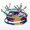 2015 Colorful Summer Design Wholesale Top Quality Braided Bracelets,Gold Color Round Bead Handmade Macrame Bracelet,Gift
