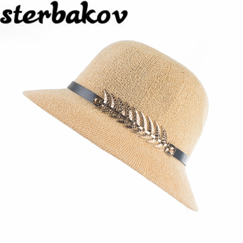 2017Lady Boater sun caps Ribbon Round Flat Top Straw Fedora Panama Hat summer hats for women straw hat snapback gorras