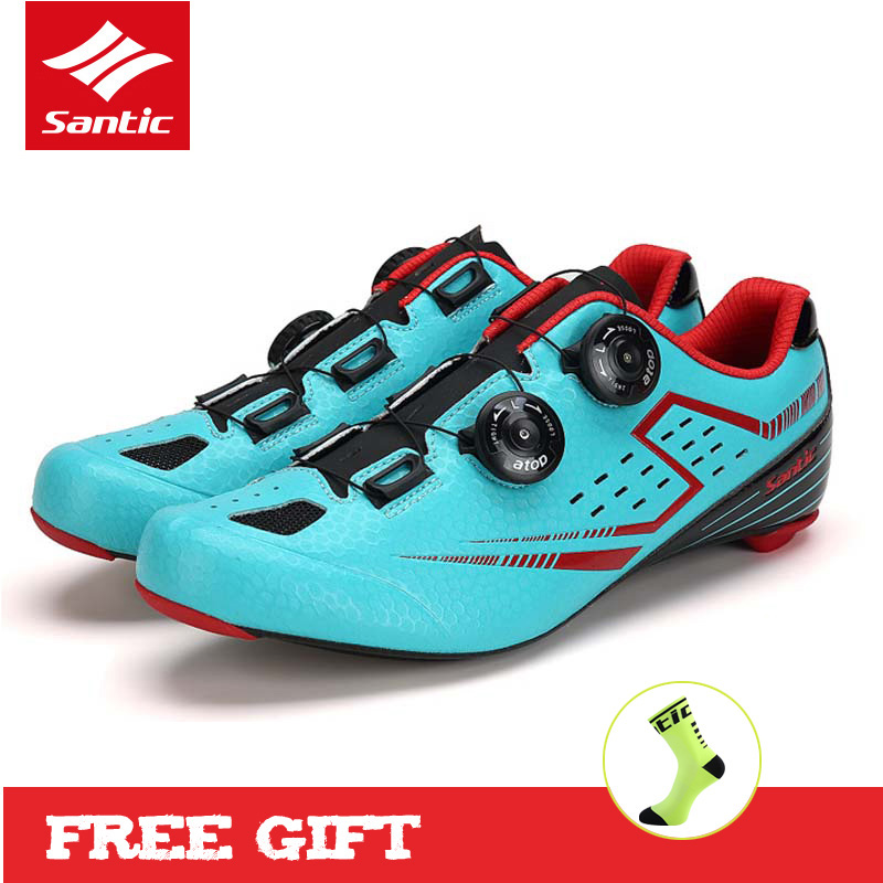Santic Men Cycling Shoes with Carbon Fiber Outsole Self-locking Athletic Road Bike Shoes Bicycle Brand Shoes Zapatillas Ciclismo santic road cycling shoes pro carbon fiber road bike shoes ultralight athletics self locking bicycle shoes zapatillas ciclismo