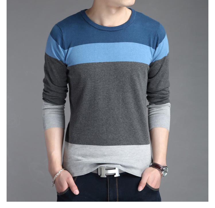 New Casual Wear Slim O Neck Long Sleeve Mens Sweaters For 2017 Fashion Design Mens Pullover Sweaters Asia Size 3XL