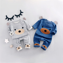 Г., новая весенняя Корейская футболка для мальчиков комплект со штанами с рисунком медведя Абердина, комплект из двух предметов для девочек брендовая одежда для малышей