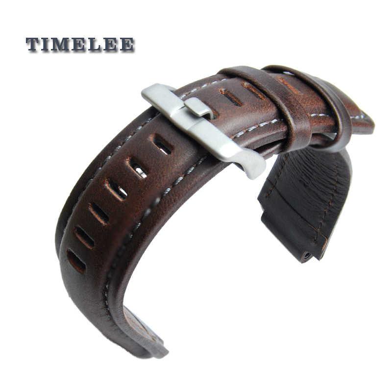 Genuine Leather Watch Band Tali Jam. Pengganti untuk Jam T45601, T2N721 E-Pasang Kompas Jam Tangan