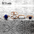 Artilady natural turquoise rings set vintage antic gold/silver lapis lazuli turquoise ring set for women jewelry