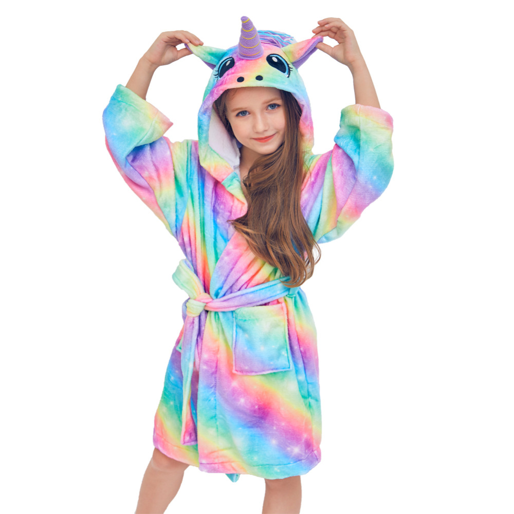 Autumn Winter Cute Rainbow Bathrobes For Girls Pajamas Unicorn Pattern Hooded Towel Rope For Boys Warm Sleepwear For Children