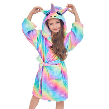 Autumn Winter Cute Rainbow Bathrobes for Girls Pajamas Unicorn Pattern Hooded Towel Rope for Boys Warm Sleepwear for Children - DISCOUNT ITEM  42% OFF All Category