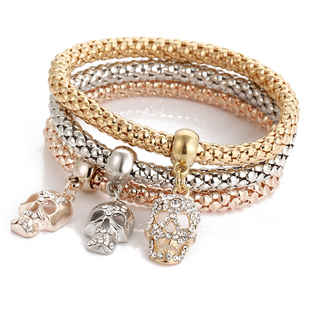 Classic Italian Crystal Skeleton Charms Bracelets Sets Elastic Female  Jewelry Copper Popcorn Chains Mother Gifts(