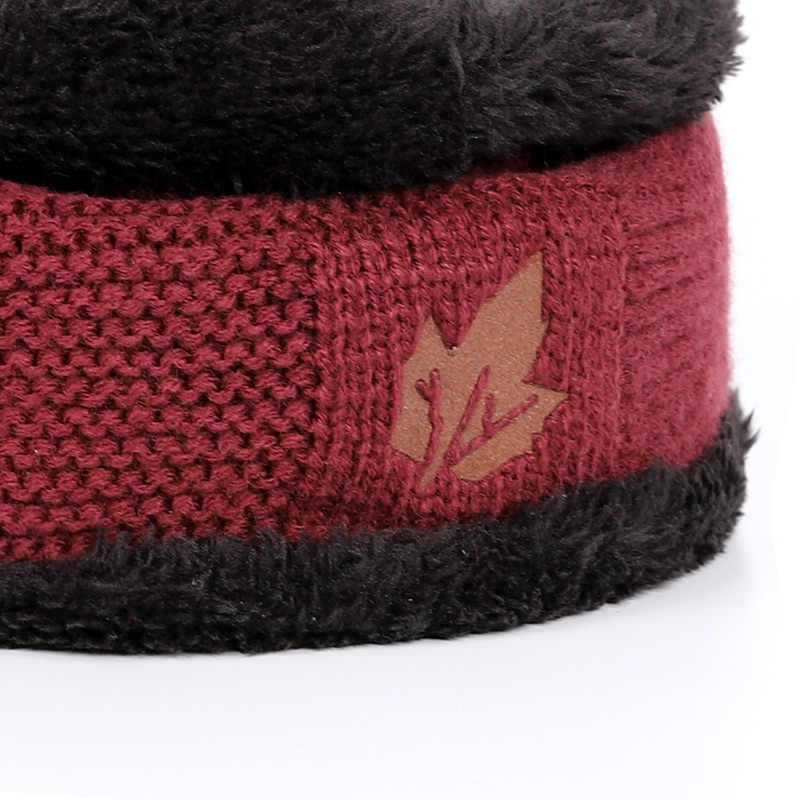 3fcb4579d74 ... Winter warm men s knit hats scarf warm and comfortable velvet thick ski  mask caps solid color
