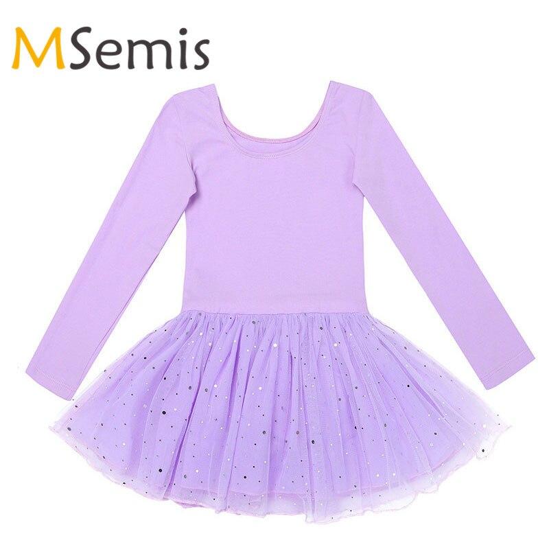MSemis Kids Girls Ballet Dress Gymnastics Swimsuit For Dancing Long Sleeves Shiny Mesh Ballet Clothing Gymnastics Leotard Dress