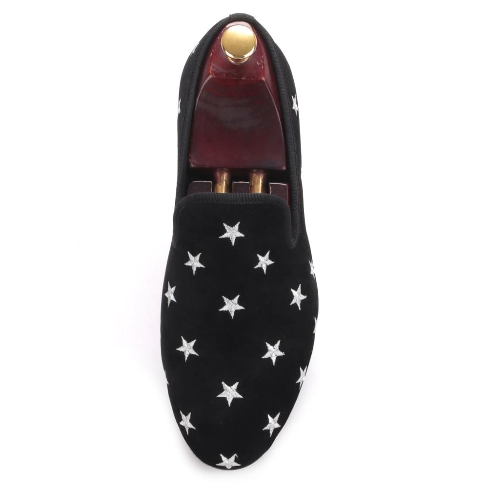 mano stelle nuovo maschio smoking uomo sposa Piergitar pantofole partito con scarpe velluto britannico e di stile da da ricamo nero mocassini a qIndwfP