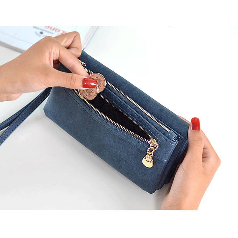 Women Wallets PU Leather Wallet Lady Fashion Double Zipper Day Clutch Purses Girls Wristlet Portable Handbags Carteira Feminina