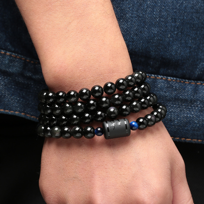 6mm 8mm Lover 39 s Style Black Stone Obsidian Beads Bracelet Multilayer Transfer Luck Bracelet amp Bangle Jewelry For Couple in Strand Bracelets from Jewelry amp Accessories