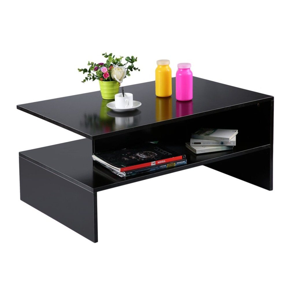 Modern Rectangle Living Room Large Storage Compartment Coffee Tea Table With Shelf Fashi ...