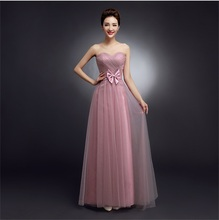 Latest Long Bridesmaid Dresses with Bow Sweetheart Girls Women Wedding Party Dress Evening Bride Ball Prom Dress Formal Gown women dress long party ball prom gown sleeveless formal bridesmaid lace dresses