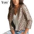 2016 Vogue Mujeres Rombo Oro Lentejuelas cazadoras nueva primavera salvaje Delgada de tres cuartos outwear casual abrigos de alta calidad de Oro
