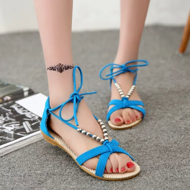 Hot Bohemian Women Sandals Gemstone Beaded Slippers Summer -1234