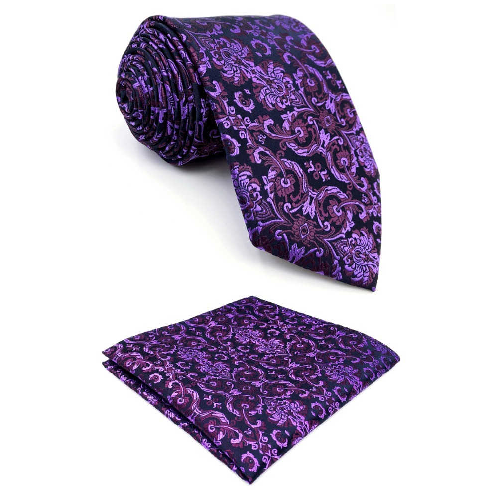 D15 Purple Floral Men Neckties Wedding Silk Classic Extra long size 63 Brand New Groom Ties for male Hanky