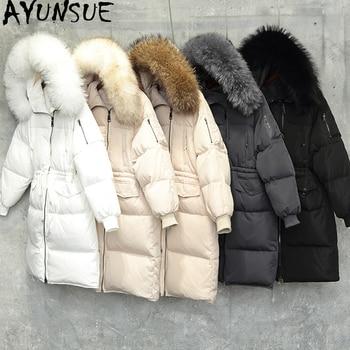 AYUNSUE Thick Korean Long Winter White Down Jacket Women Large Real Racoon Fur Collar Loose Womens Coat Chamarras De Mujer KJ434