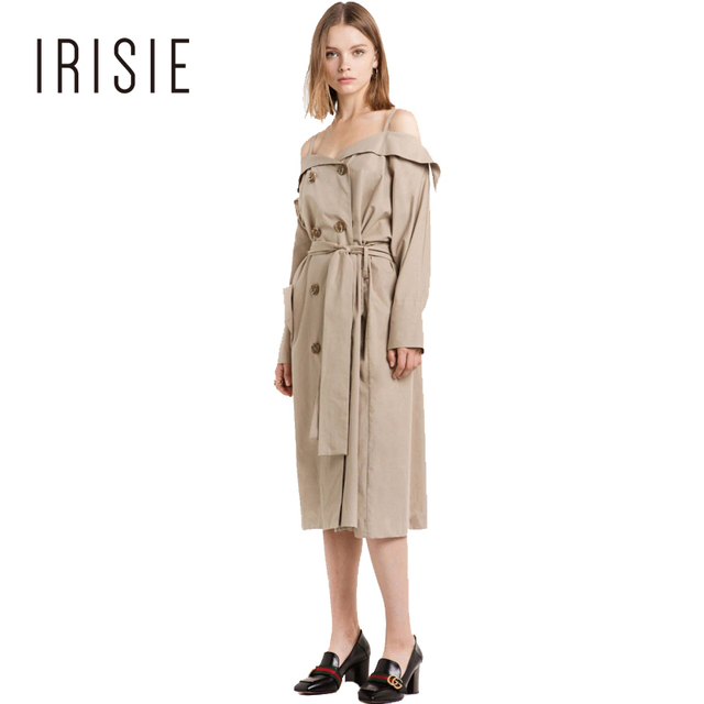 IRISIE Apparel Khaki Casual Off Shoulder Women Trench Coat Belt Tie Waist Slim Female Trench Autumn Preppy Buttons Outwear